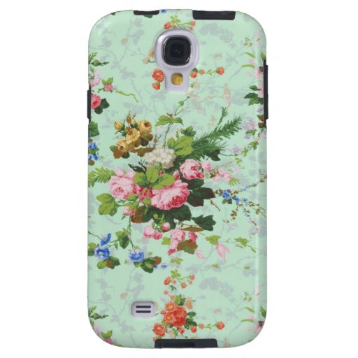 Vintage mint shabby floral chic roses rose flowers galaxy s4 case