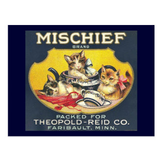 Vintage Mischief Brand Label Kittens Cats Postcard