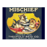 Vintage Mischief Brand Label Postcard