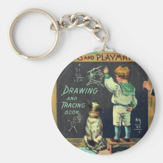 Vintage Mischievous Schoolboy and his Faithful Dog Basic Round Button Keychain