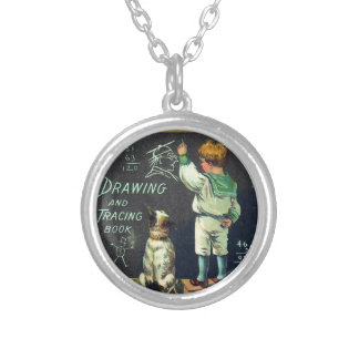 Vintage Mischievous Schoolboy and his Faithful Dog Silver Plated Necklace