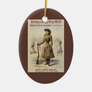 Vintage Miss Annie Oakley, Western Cowgirl Ceramic Ornament