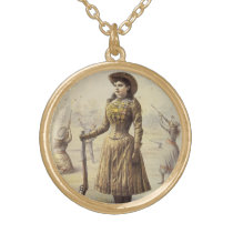 Vintage Miss Annie Oakley, Western Cowgirl Gold Plated Necklace