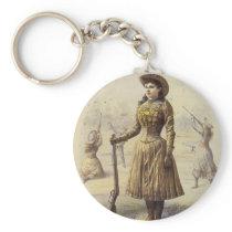 Vintage Miss Annie Oakley, Western Cowgirl Keychain