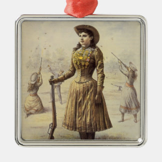 Vintage Miss Annie Oakley, Western Cowgirl Metal Ornament