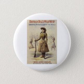 Vintage Miss Annie Oakley, Western Cowgirl Pinback Button