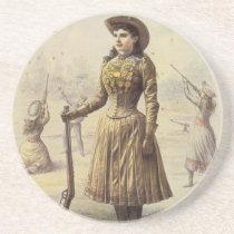 Vintage Miss Annie Oakley, Western Cowgirl Sandstone Coaster