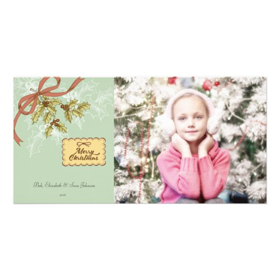 Vintage Mistletoe Art Christmas Photo Card
