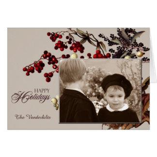 Vintage Mistletoe Photo Holiday Greeting Card