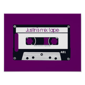 "VINTAGE ""MIX TAPE"" PERSONALIZABLE POP ART POSTER"