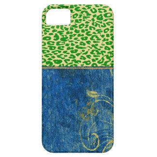 Vintage mod floral with green leopard print skin iPhone SE/5/5s case