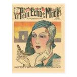 Vintage, moda retra del francés, cubierta de Echo  Postal