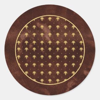 Vintage modelo de cuero del damasco de Brown y del Pegatina Redonda