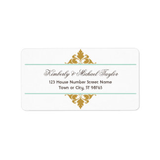 Vintage Modern Art Deco Mint & Gold Custom Address Label