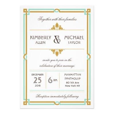 Vintage Modern Art Deco Mint & Gold Wedding Invitations