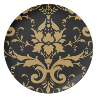 Vintage Modern Beige Damask on Black Dinner Plate