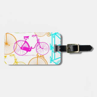 Vintage Modern Bicycle Bright Color Neon Pattern Bag Tag