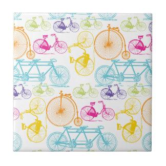 Vintage Modern Bicycle Bright Color Neon Pattern Ceramic Tile