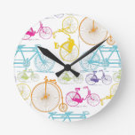 Vintage Modern Bicycle Bright Color Neon Pattern Round Clock