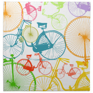 Vintage Modern Bicycle Bright Color Neon Pattern Cloth Napkin