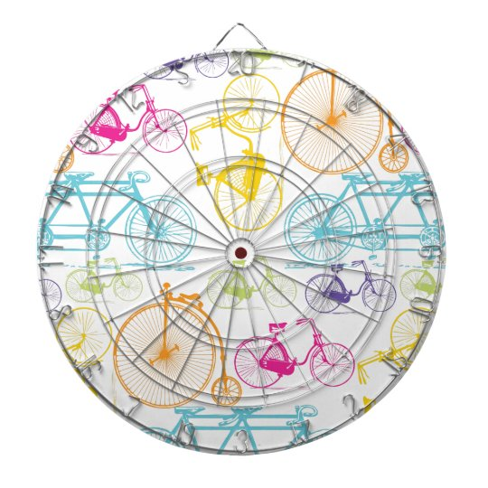 Vintage Modern Bicycle Bright Color Neon Pattern Dartboard