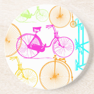 Vintage Modern Bicycle Bright Color Neon Pattern Drink Coaster