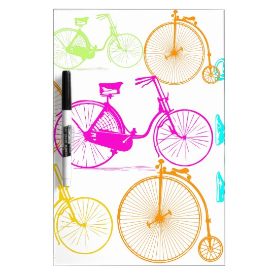 Vintage Modern Bicycle Bright Color Neon Pattern Dry Erase Board