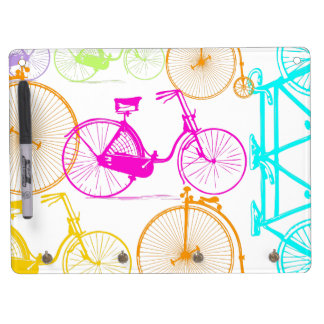 Vintage Modern Bicycle Bright Color Neon Pattern Dry Erase Board With Keychain Holder