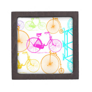 Vintage Modern Bicycle Bright Color Neon Pattern Gift Box