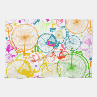 Vintage Modern Bicycle Bright Color Neon Pattern Hand Towel