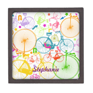 Vintage Modern Bicycle Bright Color Neon Pattern Jewelry Box