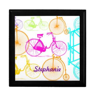 Vintage Modern Bicycle Bright Color Neon Pattern Keepsake Box