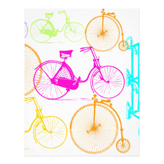 Vintage Modern Bicycle Bright Color Neon Pattern Letterhead