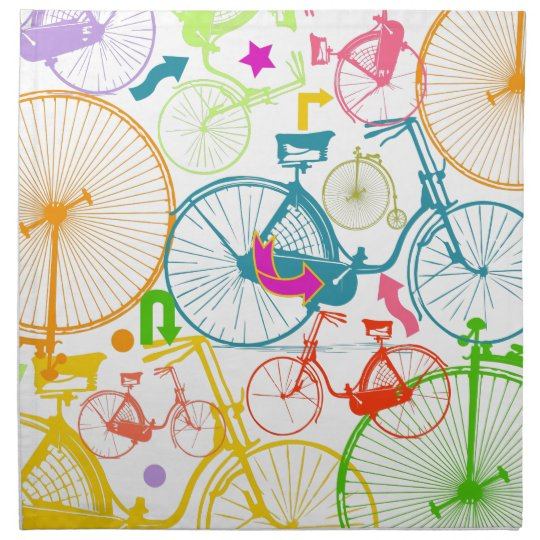Vintage Modern Bicycle Bright Color Neon Pattern Napkin