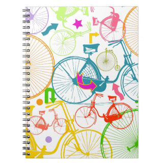 Vintage Modern Bicycle Bright Color Neon Pattern Note Books