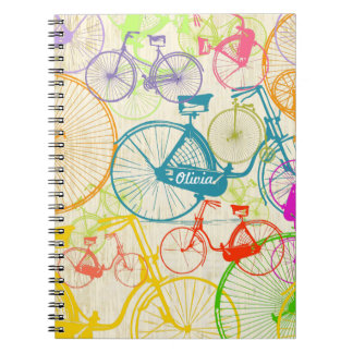 Vintage Modern Bicycle Bright Color Neon Pattern Spiral Notebooks