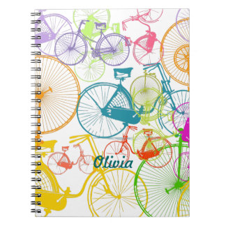 Vintage Modern Bicycle Bright Color Neon Pattern Notebooks