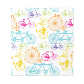 Vintage Modern Bicycle Bright Color Neon Pattern Notepad