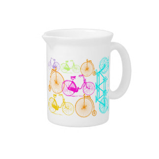 Vintage Modern Bicycle Bright Color Neon Pattern Pitcher