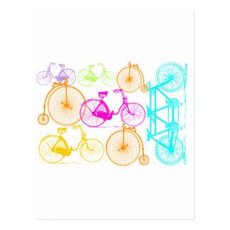 Vintage Modern Bicycle Bright Color Neon Pattern Postcard