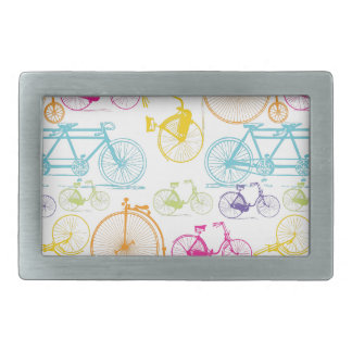 Vintage Modern Bicycle Bright Color Neon Pattern Rectangular Belt Buckle
