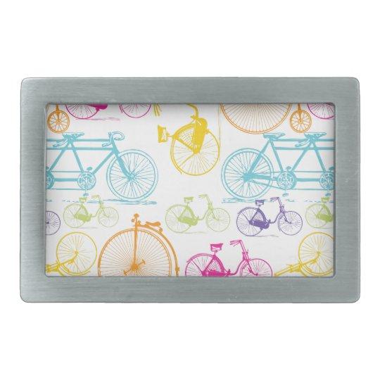Vintage Modern Bicycle Bright Color Neon Pattern Rectangular Belt Buckle