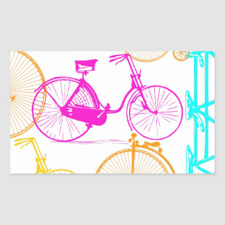 Vintage Modern Bicycle Bright Color Neon Pattern Rectangular Sticker
