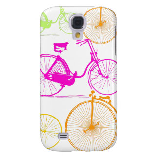Vintage Modern Bicycle Bright Color Neon Pattern Samsung Galaxy S4 Case