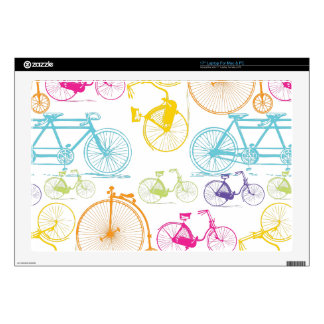 "Vintage Modern Bicycle Bright Color Neon Pattern Skins For 17"" Laptops"
