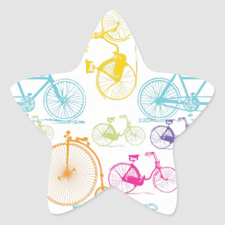 Vintage Modern Bicycle Bright Color Neon Pattern Star Sticker