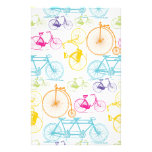 Vintage Modern Bicycle Bright Color Neon Pattern Stationery Paper