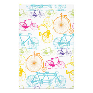 Vintage Modern Bicycle Bright Color Neon Pattern Stationery