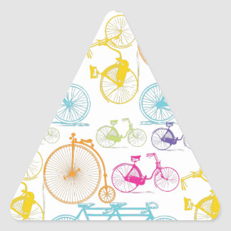 Vintage Modern Bicycle Bright Color Neon Pattern Triangle Sticker