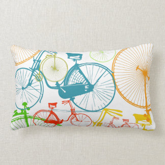Vintage Modern Bicycle Bright Color Neon Pillow